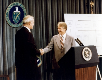 President Carter and Secretary Schlesinger at Signing of Department of Energy Organization Act
