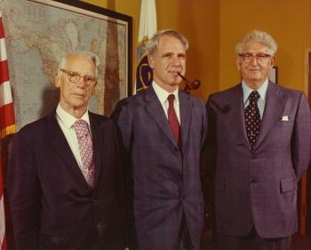 Secretary Schlesinger (center) with Shields & Stafford Warren