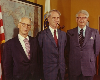 Secretary Schlesinger (center) with Shields & Stafford Warren