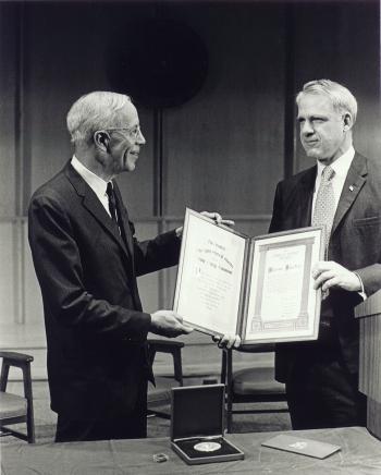 Secretary Schlesinger Presenting the Enrico Fermi Award