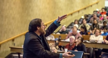 Craig Arnold, Princeton University professor of mechanical and aerospace engineering and director of the Princeton Institute for the Science and Technology of Materials, discusses the history of and current research on batteries at Science on Saturday.