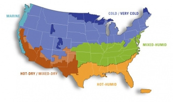 Map of the United States with climate zones marked.