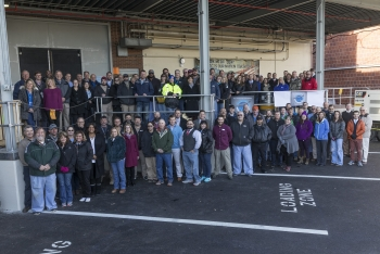 Employees at Y-12 National Security Complex gather to celebrate completion of the first production unit of the B61-12