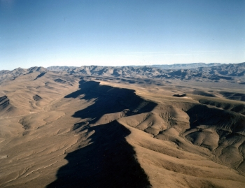 Aerial view of the crest of Yucca Mountain