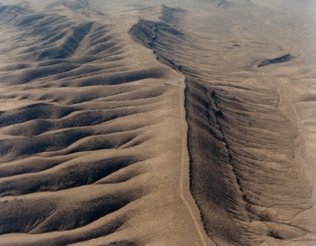Aerial view of north end of the Yucca Mountain crest in February 1993