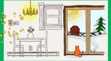 Graphic of the inside of a house, with table and chairs, and a window looking outside.
