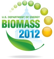 Biomass 2012 Logo. Image consists of a curved leaf and green and yellow circles surrounding a silhouette of the US Capitol building. The text 'U.S. Department of Energy Biomass 2012' is overlayed on the image.
