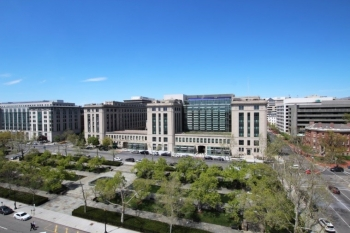 Distance photo of the headquarters building.