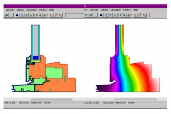 Screenshot of drawings from the 2D building envelope heat transfer modeling software THERM.