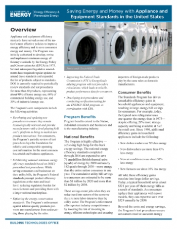 Cover page of the Appliance Standards Fact Sheet.