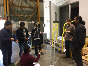 Animated research exchange between U.S. and Indian scientists and researchers at the advanced HVAC (heating, ventilation, and air-conditioning) test lab at Lawrence Berkeley National Laboratory.