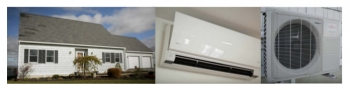 Images of the exterior of a house and an air-source heat pump.
