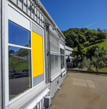 Building-integrated heat and moisture exchanger, the AirFlow Panel, installed for evaluation at Lawrence Berkeley National Lab.