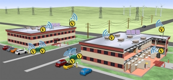 Graphic showing two commercial buildings, one that has an area cut away to see inside, and cars parked outside both buildings, illustrating grid interactivity.