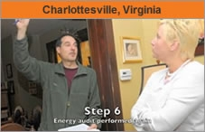 """Man and woman talking inside a house, withe the words """"Charlottesville, Virginia."""""""