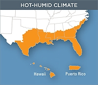 Map of the Hot and Humid Climate Zone of the United States. This zone covers eastern Texas through Florida and reaches up to mid-Georgia it also includes Puerto Rico and Hawaii.