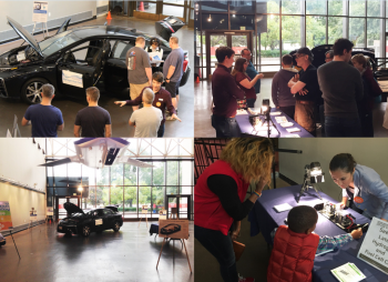 Four images of activities at the Smithsonian Air and Space Museum commemorating National Hydrogen and Fuel Cell Day and Hispanic Heritage month.