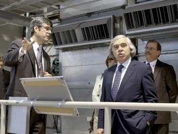Energy Secretary Moniz in the Spallation Neutron Source instrument hall
