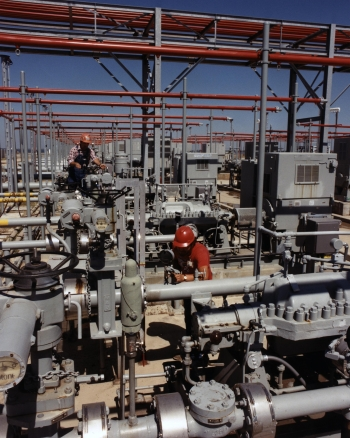 Overview of crude oil pumps on the high pressure pump pads at the West Hackberry site.