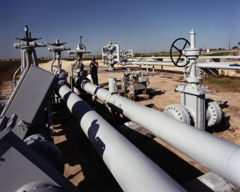 Well pad/wellhead and valves at the Bryan Mound site.