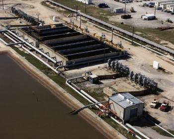 Aerial view of the brine pond booster pumps/oil brine separator ponds at West Hackberry.