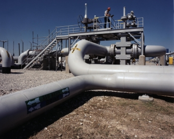 Crude oil, raw water/brine pipes on the high pressure pump pad at the Bryan Mound site.