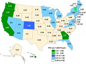 Map of U.S. with PEV registrations per 1,000 people by state in 2015.
