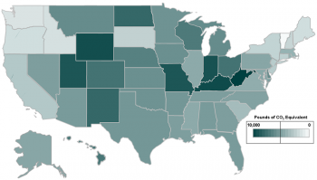 Annual Well-to-Wheel Emissions from a Typical EV by State in 2015