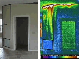 Photo of the doorway of a home side by side with an infrared image of that view.