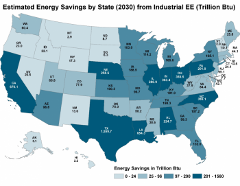 Estimated Energy Savings by State (2030) from Industrial EE (Trillion Btu)