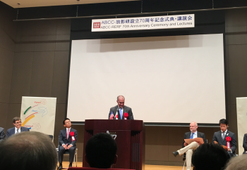 Matt Moury speaking at the the 70th Anniversary RERF Event in Hiroshima, Japan