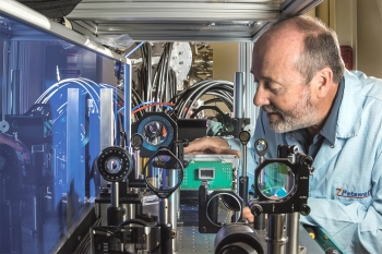 Sandia physicist sets ultrafast multi-frame digital X-ray camera in place at Z machine facility.