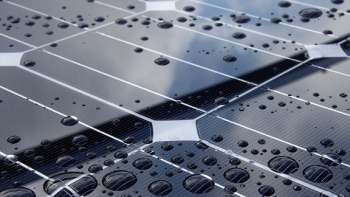 Close up of solar panels with raindrops