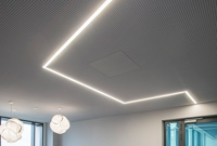 Photo of color-tunable LED luminaires on a ceiling.