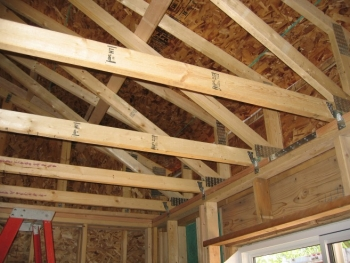 Photo of the framing of the interior of a home under construction.