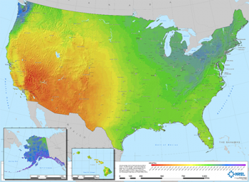 Heat map of the United States.