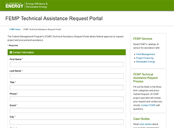 Screenshot of the Technical Assistance Portal.