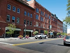 Photo of a block in lower downtown Denver that is part of Living City Block, a DOE Commercial Building Partnerships participant.
