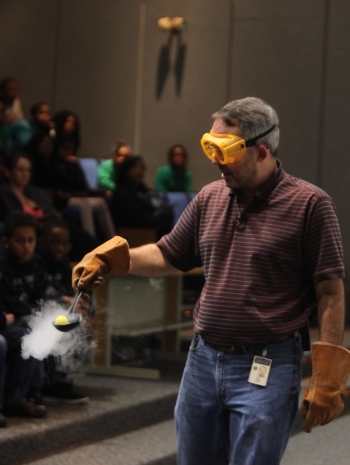 Science Education Administrator, Steve Gagnon, experiments with liquid nitrogen in a recent Physics Fest.