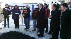 PUSH Buffalo representatives break ground on the latest MASH energy-efficient housing project.