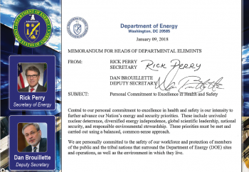 Personal Commitment to Excellence in Health and Safety Message  from Secretary Rick Perry and Deputy Secretary Dan Brouillette