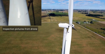 A side view of a turbine at the right side of the frame with a cut out photo at top left showing an up close view of damage to a turbine blade.