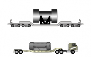 Illustration showing relative sizes of typical rail and truck casks