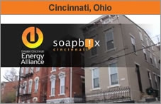 """The Soapbox logo on top of a photo of townhomes, with the words """"Cincinnati, Ohio."""""""