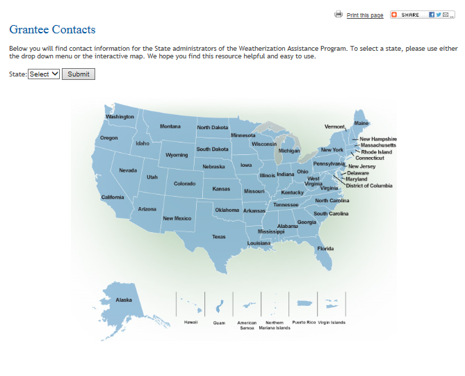 Map of the United States that directs you to WAP state administrator contact information