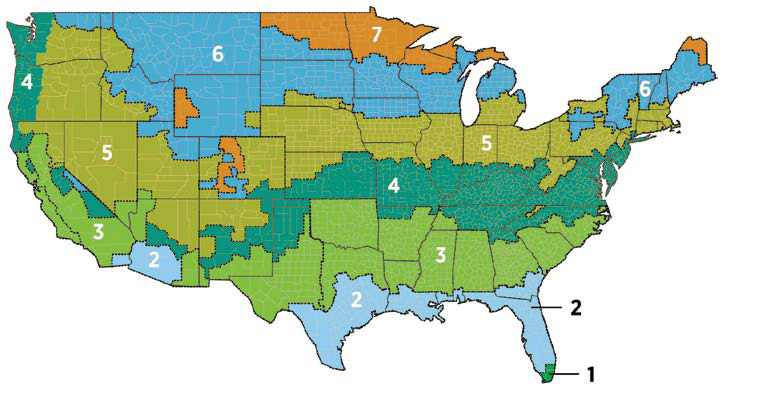 Map of the United States showing recommended R-values for different regions. Please contact consumer.webmaster@nrel.gov if you need assistance reading this map.