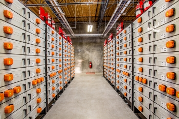 "Rows of battery racks at the <a href=""/node/657906"">Salem Smart Power Center</a> in Salem, Oregon. The Battelle-led Pacific Northwest Smart Grid Demonstration Project, will use the center's 5-megawatt energy storage system to test several smart grid technologies and approaches. 