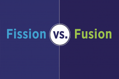 graphic of words that say fission vs fusion