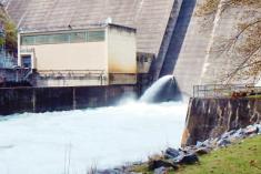 River level view of Philpott Dam in Bassett, Virginia