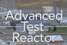 """Aerial photo of the Advanced Test Reactor facility at Idaho National Laboratory with the words """"The Advanced Test Reactor"""" on it."""
